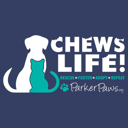 Parker Paws Logo Chews Life - Adult Unisex Long Sleeve T-Shirt