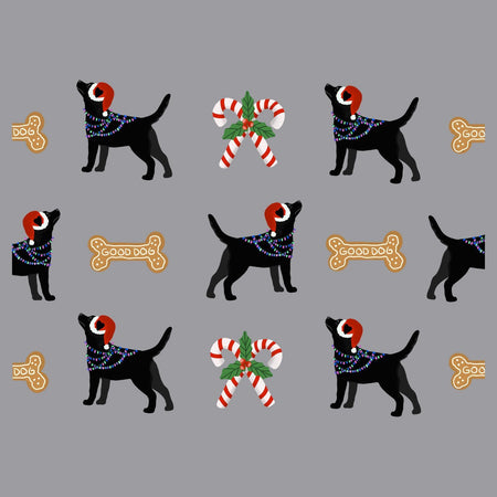 Christmas Black Lab Pattern - Adult Adjustable Face Mask