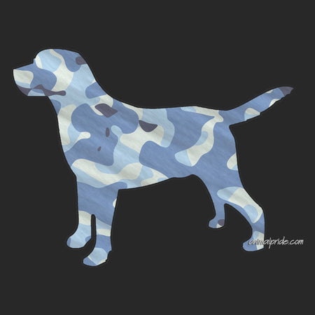 Labrador Silhouette Blue Camouflage - Adult Adjustable Face Mask