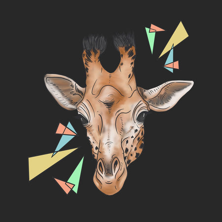 Giraffe and Color Shapes Illustration - Adult Adjustable Face Mask