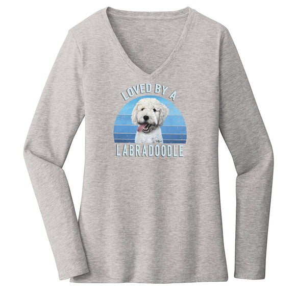 Parker Paws Store - Loved By A Labradoodle - Women's V-Neck Long Sleeve T-Shirt