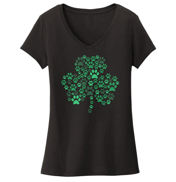 Green Paw Shamrock - Women's V-Neck T-Shirt
