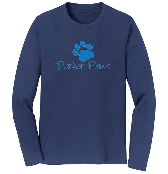 Parker Paws Blue Paw Print Logo - Adult Unisex Long Sleeve T-Shirt