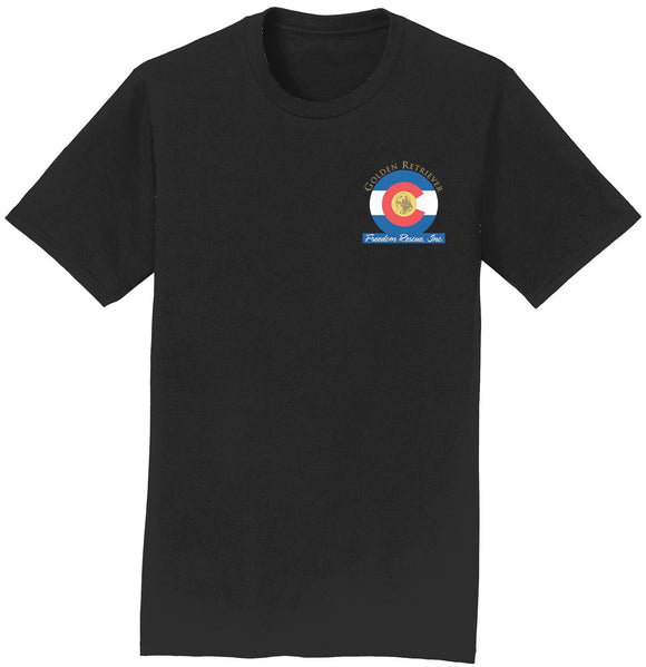 Golden Retriever Freedom Rescue Colorado Flag Logo - Left Chest - T-Shirt