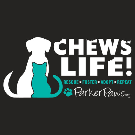 Parker Paws Logo Chews Life - Women's Fitted T-Shirt
