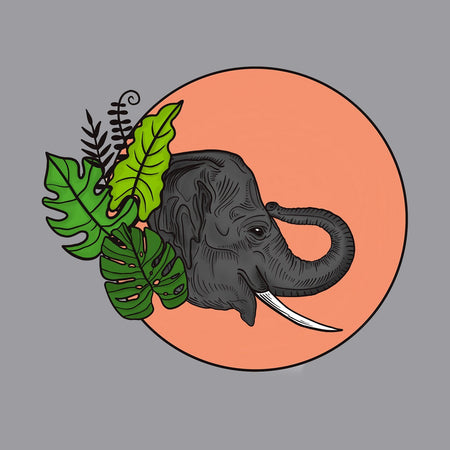 Elephant and Sun Illustration - Adult Adjustable Face Mask