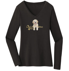 Gold Ribbon Rescue Puppy Logo - Ladies' V-Neck Long Sleeve T-Shirt