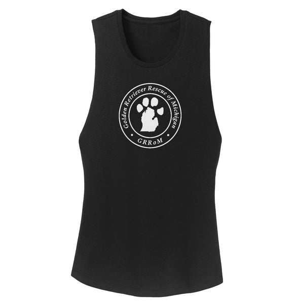 Golden Retriever Rescue of Michigan Logo - Full Front White - Ladies' Tank Top