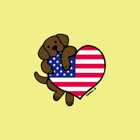 Chocolate Lab USA Flag Heart Left Chest - Women's Fitted T-Shirt