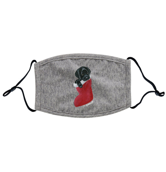 Black Lab in Stocking - Adult Adjustable Face Mask