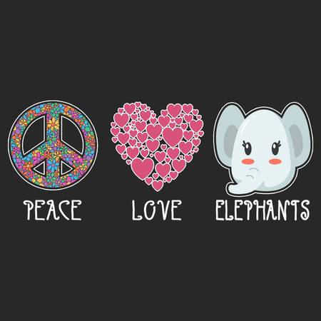 Peace Love Elephants - Adult Adjustable Face Mask