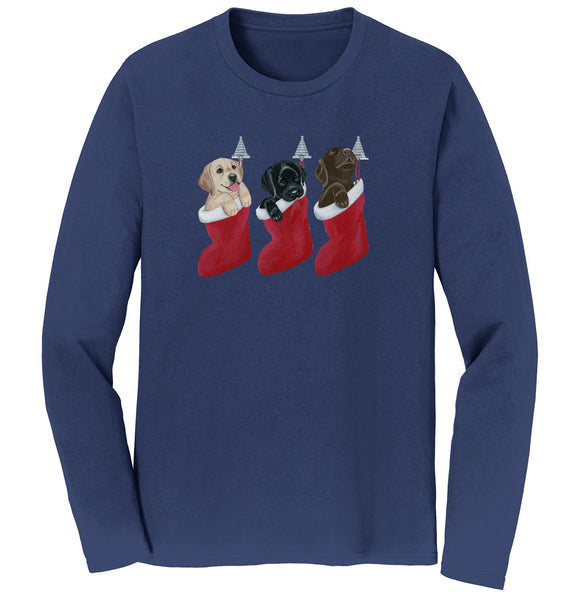 3 Lab Pups in Stockings - Adult Unisex Long Sleeve T-Shirt