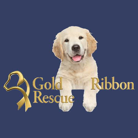 Gold Ribbon Rescue Puppy Logo - Adult Unisex T-Shirt