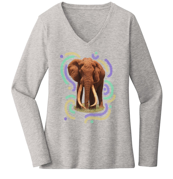 Wiggly Lines Elephant - Women's V-Neck Long Sleeve T-Shirt