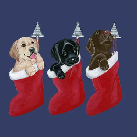 3 Lab Pups in Stockings - Adult Unisex T-Shirt