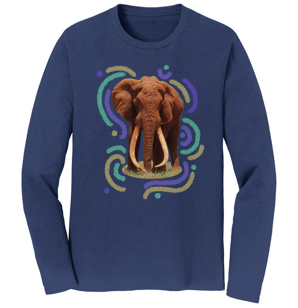Wiggly Lines Elephant - Adult Unisex Long Sleeve T-Shirt