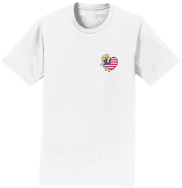 Yellow Lab USA Flag Heart Left Chest - Adult Unisex T-Shirt