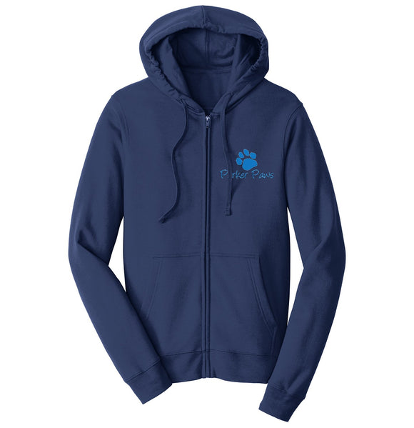 Parker Paws Blue Paw Print Left Chest Logo - Adult Unisex Full-Zip Hoodie Sweatshirt