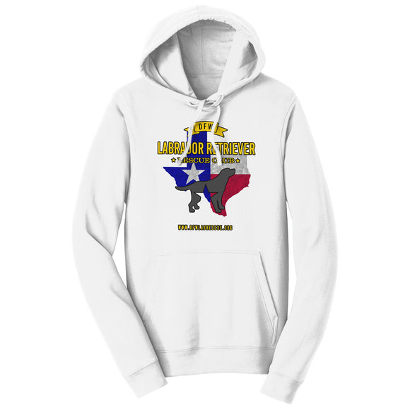 DFWLRRC - DFW LRRC Texas Flag Black Lab Logo - Adult Unisex Hoodie Sweatshirt