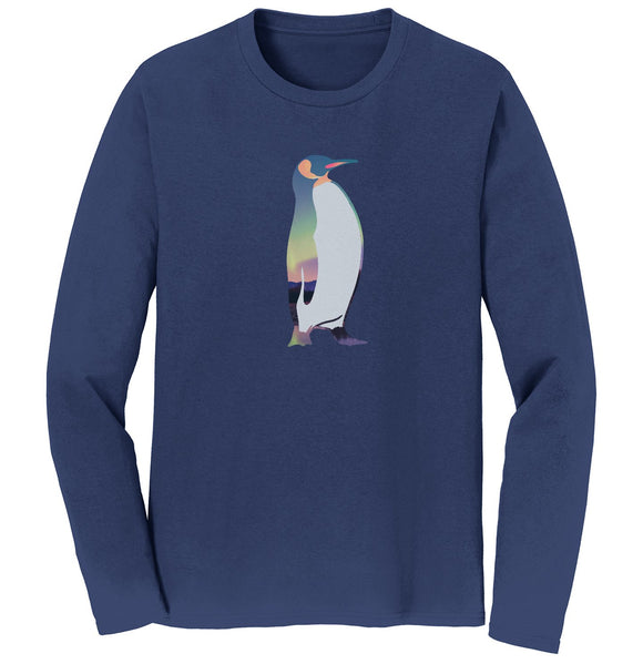 Northern Lights Penguin - Adult Unisex Long Sleeve T-Shirt