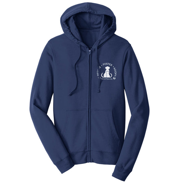 Parker Paws Rescue Foster Adopt Left Chest - Adult Unisex Full-Zip Hoodie Sweatshirt