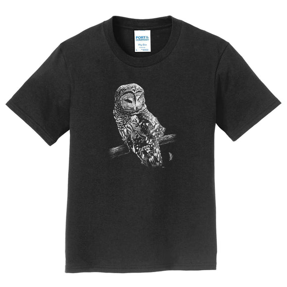 Barred Owl on Black - Kids' Unisex T-Shirt