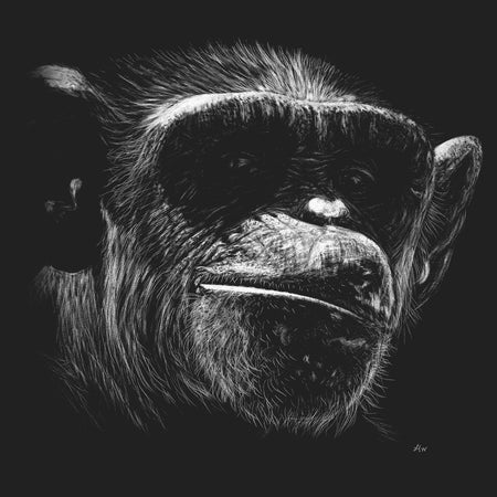 Chimp on Black - Women's Fitted T-Shirt