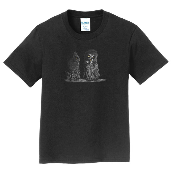 Great Grey Owls on Black - Kids' Unisex T-Shirt