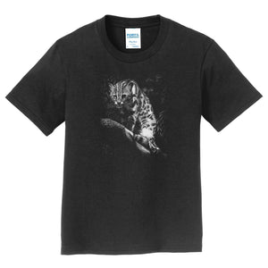 Leopardcat on Black - Kids' Unisex T-Shirt