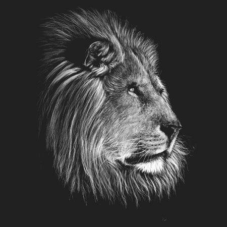 Lion on Black - Kids' Unisex T-Shirt