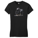 Red Handed Tamarin on Black - Women's Fitted T-Shirt