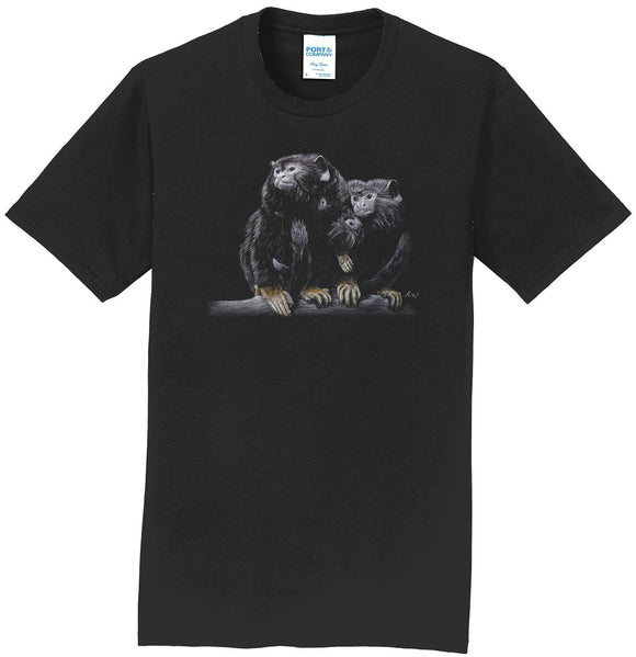 Red Handed Tamarins on Black - Adult Unisex T-Shirt