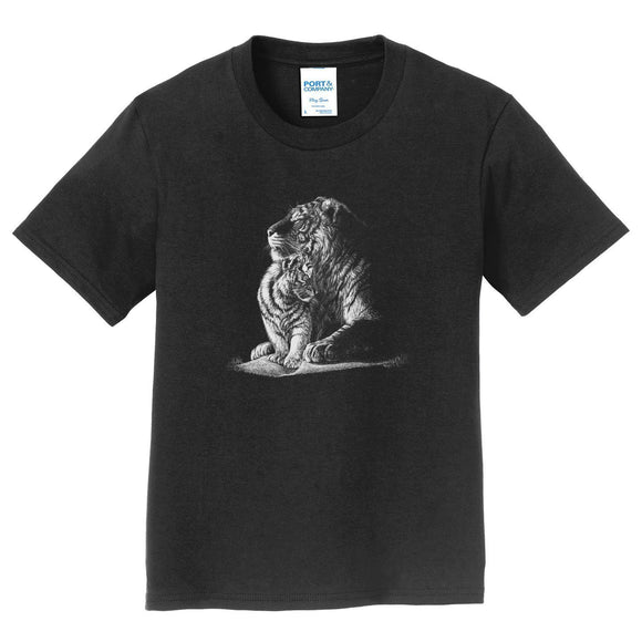 Tiger and Cub on Black - Kids' Unisex T-Shirt