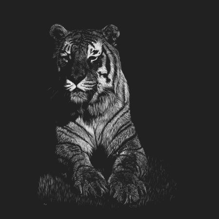Tiger on Black - Women's Fitted T-Shirt