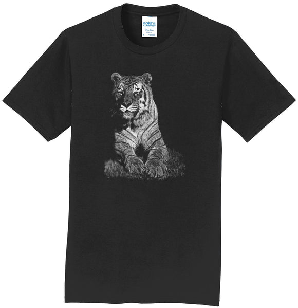 Tiger on Black - Adult Unisex T-Shirt