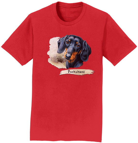 Parker Paws Store - Dachshund Face Art - Adult Unisex T-Shirt