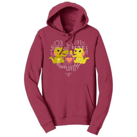Love Heart Alligators - Adult Unisex Hoodie Sweatshirt