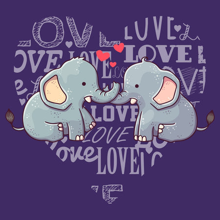Love Heart Elephants - Women's Fitted T-Shirt