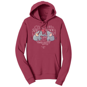 International Elephant Foundation - Love Heart Elephants - Adult Unisex Hoodie Sweatshirt