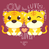 Love Heart Tigers - Adult Unisex Hoodie Sweatshirt
