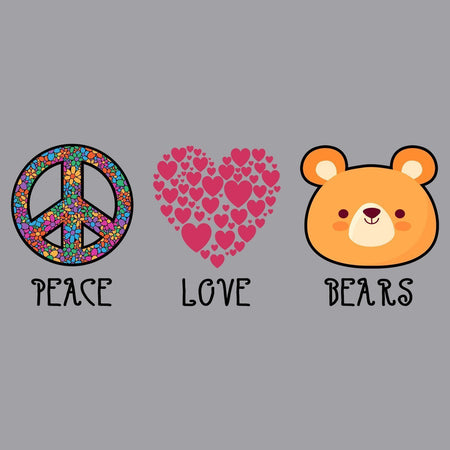 Peace Love Bears - Adult Unisex Hoodie Sweatshirt