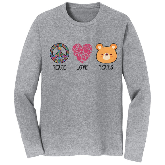 Peace Love Bears - Adult Unisex Long Sleeve T-Shirt