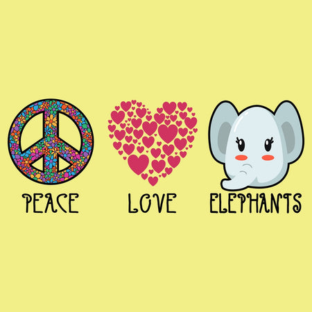 Peace Love Elephants - Women's Fitted T-Shirt