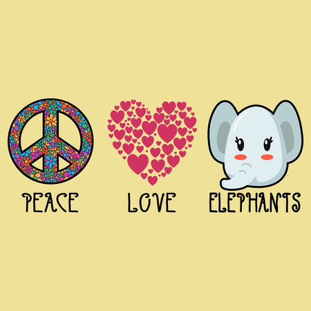 Peace Love Elephants - Adult Unisex T-Shirt
