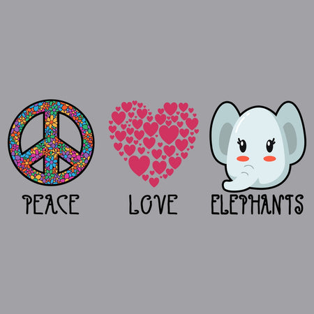 Peace Love Elephants - Adult Unisex Hoodie Sweatshirt