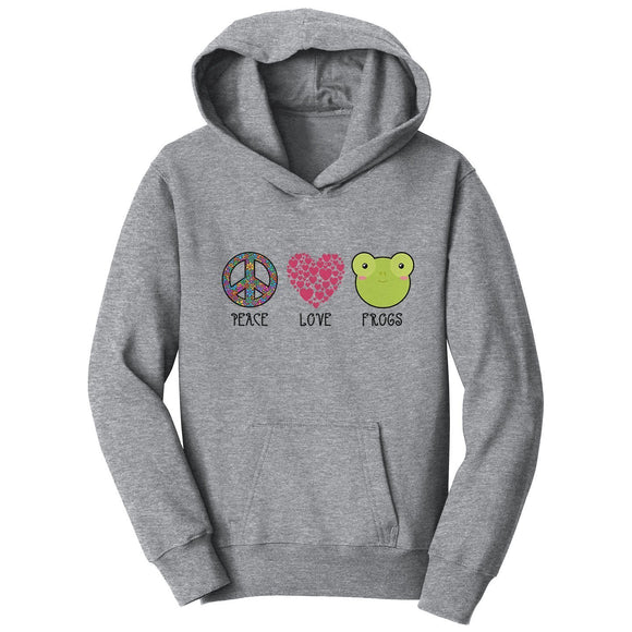 Peace Love Frogs - Kids' Unisex Hoodie Sweatshirt