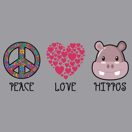 Peace Love Hippos - Adult Unisex Long Sleeve T-Shirt