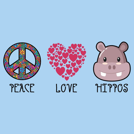 Peace Love Hippos - Adult Unisex T-Shirt