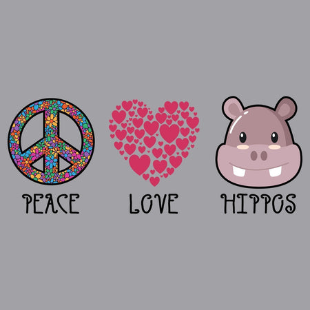 Peace Love Hippos - Adult Unisex Hoodie Sweatshirt