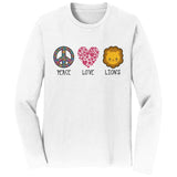 Peace Love Lions - Adult Unisex Long Sleeve T-Shirt